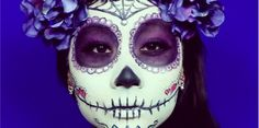 """""""Day Of The Dead"""" Mexican Sugar Skull Makeup Tutorial Halloween Sugar Skull Halloween, Sugar Skull Costume, Halloween Costume Couple, Halloween 2014, Halloween Face Makeup, Halloween Halloween, Holidays Halloween, Vintage Halloween, Candy Skull Makeup"""
