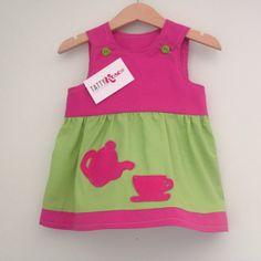Tatty Tea Party Dress Cerise Pink and Lime Green by TattyRoseUK, £22.00