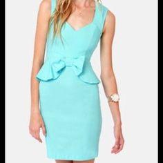 I just added this to my closet on Poshmark: Lulu's light blue open back peplum dress. Price: $37 Size: S
