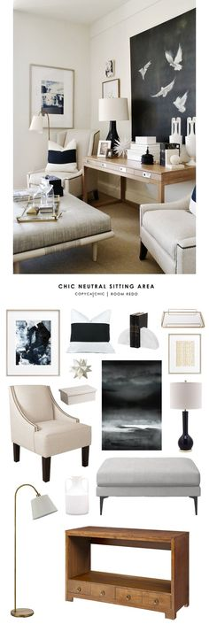 Copy Cat Chic Room Redo | Chic Neutral Sitting Area