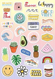 VSCO pegatinas 🤩✌🏼 Stickers Cool, Tumblr Stickers, Funny Stickers, Stickers For Laptop, Free Printable Stickers, Happy Stickers, Brand Stickers, Printable Calendars, Planner Stickers