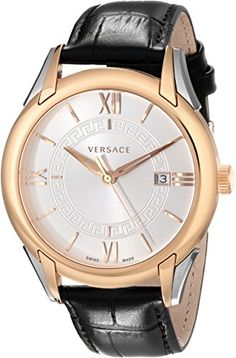 """Versace Men's VFI020013 """"Apollo"""" Rose Gold Ion-Plated Stainless Steel Casual Watch with Leather Band Versace"""