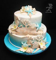 Beach Birthday all Edible Strandgeburtstag alles essbar Beach Themed Cakes, Beach Cakes, Fondant Cakes, Cupcake Cakes, Cupcakes, Seashell Cake, Ocean Cakes, Nautical Cake, Sweet 16 Cakes
