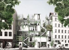 Image 1 of 12 from gallery of WE architecture + Erik Juul& Urban Garden and Housing to Provide Turning Point for Copenhagen& Homeless. Photograph by WE Architecture Landscape Plans, Urban Landscape, Landscape Design, Garden Design, Fence Design, Urban Architecture, Garden Architecture, Sustainable Architecture, Social Housing Architecture