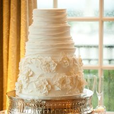 Five tier, all-white wedding cake // Amy Deputy Photography // Kendall's Cakes