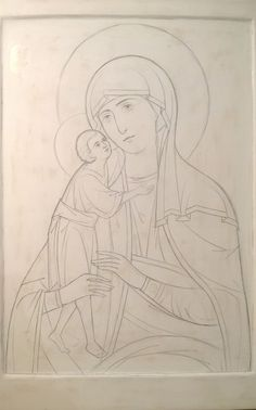 Новости Painting Lessons, Painting & Drawing, Christian Artwork, Religious Paintings, Mary And Jesus, Byzantine Icons, Art Icon, Orthodox Icons, Line Drawing