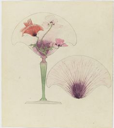 """Drawing, Design for the Petal-shaped Vase """"Coquelicot"""", c. 1900"""