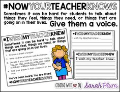 Students need an outlet; thanks to Kyle Schwartz #Iwishmyteacherknew movement, open lines of communication and relief for our students can be present at all times. These printables make it easy to add this movement as a permanent part of your classroom.