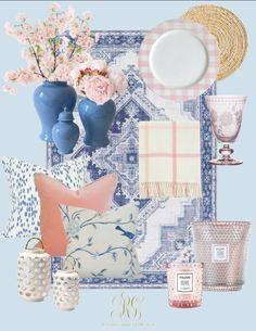 Mood board inspo for the season! #springdecor #spring #springrefresh #cherryblossoms #wicker #blueandwhitedecor #blueandwhite #blueandwhitespringdecor #pinkcherryblossoms #whitecherryblossoms #bluerug #gingerjar #buffalocheck #whitetray #wickervase #wickerbasket #voluspacandle #kitchen #whitekitchen #familyroomdecor #familyroom #throwpillow Pastel Home Decor, Spring Home Decor, Family Room Decorating, Decorating Your Home, Voluspa Candles, White Hand Towels, Pastel House, Blue Springs, Elegant Homes
