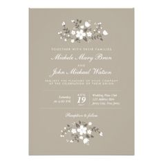 Customize this Stylish Beautiful Contemporary Modern Pretty Floral Wedding Invitation, fully customizable and set as a template for your easy customization. White flowers on a tan beige background make this invitation look very lovely and rustic. You can also change the corners of this invitation to rounded which will work perfectly with this design. This is white text version. Matching RSVP Card, Save the Date Card, Bridal Shower Invitation, Rehearsal Dinner Invitation, Thank You Card and…