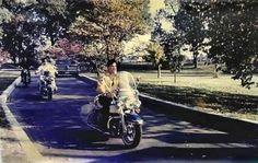 Elvis leaving Graceland on his byke in spring 1965.