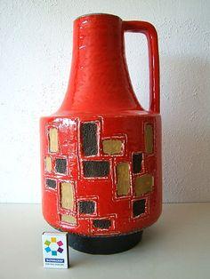 Scheurich Bodenvase  Vase Pop 60-70er Keramik pottery 40 cm Fat Lava Ära