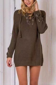 Army Green Lace-up Knit Long Raglan Sleeves Sweater -YOINS