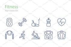 Fitness line icons by I-RO on @creativemarket