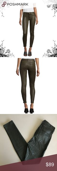 """{7FAM} Green Faux Leather Crackle Skinny Pants 7 For All Mankind jeans in leather-like, coated denim. Approx. measurements: 9""""; 28"""" inseam; 10"""" leg opening. Five-pocket style. High rise. Fitted through skinny legs; seams at knee. Cropped at ankle. Jegging. Button/zip front; belt loops. Cotton/spandex. Bundle for discounts! Thank you for shopping my closet! Bin 50 7 For All Mankind Jeans Skinny"""