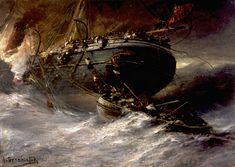 Пожар на пароходе. 1888 - Боголюбов Алексей Петрович