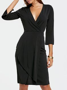 Plunging Neckline Sheath Surplice Dress