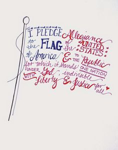 Free hand-lettered flag printable for the Fourth of July or Memorial Day Patriotic Crafts, July Crafts, Patriotic Quotes, I Pledge Allegiance, Independance Day, Let Freedom Ring, Allegiant, Insurgent Quotes, Thing 1