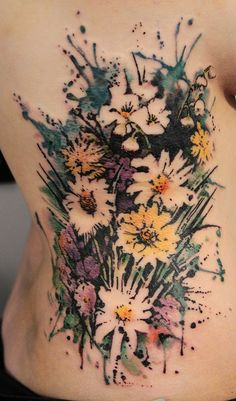 No Line Watercolor Tattoo Interesting use of negative space
