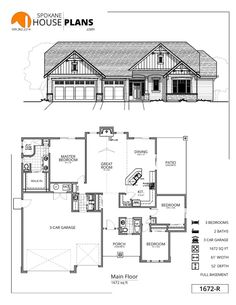 3 Bed Modern Farmhouse Plan With Two Laundry Rooms 14676rk Floor