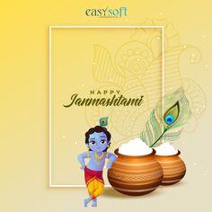 Janmashtami Wishes, Happy Janmashtami, Krishna Janmashtami, Om Namah Shivaya Mantra, Krishna Art, Hare Krishna, Creative Advertising, Advertising Design, Happy Birthday Signs