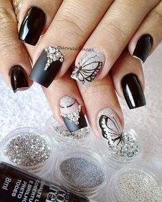 46 Fotos de Unhas decoradas preto e branco Special Nails, Butterfly Nail, Best Nail Polish, Nail Accessories, Nail Decorations, Black Nails, Colorful Makeup, Nail Arts, Nail Tech