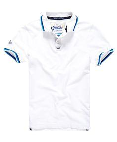 Superdry Surf Edition Pique Polo Shirt Camisa Polo Branca be0516c6c1c1e