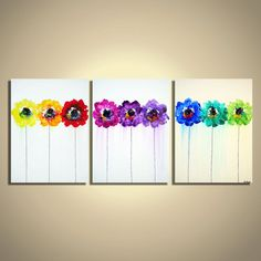 Flowers in a row, Modern Colorful Art, Contemporary Bright Rainbow Flowers, Palette Knife Abstract Painting on Canvas- Triptych