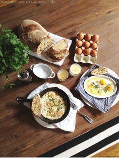 herb, garlic, and feta baked eggs