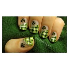 6 St. Patrick's Day Nail Art Ideas That Will Get You in the Irish... ❤ liked on Polyvore featuring beauty products, nail care, nail treatments and nails