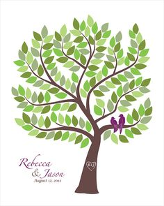 Unique Wedding Guest Book Personalized wedding gift with Love Birds, Wedding Tree guest book alternative signature tree on Etsy, $40.00