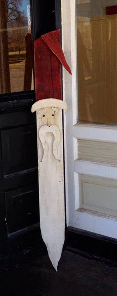 Tall wooden santa that has dimension in hat beard by OlivesNest, $35.00