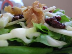 Apple, Dried Cherry, and Walnut Salad with Maple Dressing.