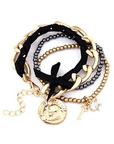 Rope And Chain Bracelet Set goldblacksilverropechainbracelet