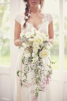 Romantic cascade bridal bouquet