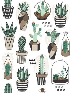 Vecteur : Seamless pattern with succulents in terrarium. Vecteur : Seamless pattern with succulents in terrarium. Cactus Drawing, Cactus Art, Cactus Painting, Drawing Drawing, Cactus Doodle, Diy Painting, Tumblr Stickers, Cute Stickers, Inspiration Art
