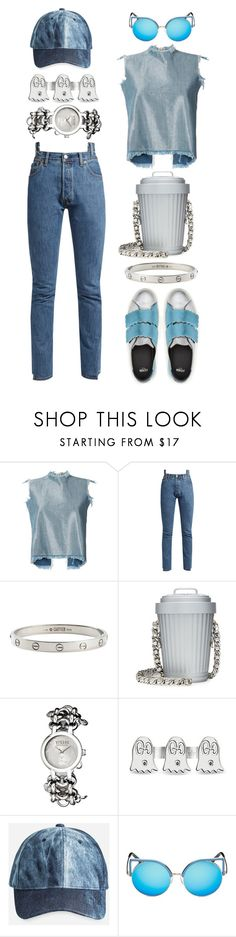 """""""Do you have any trash?"""" by hotsarrisstyle ❤ liked on Polyvore featuring Marques'Almeida, Vetements, Cartier, Moschino, Versus, Gucci, Ashley Stewart and Matthew Williamson"""