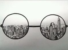 Doodle art 554857616587220660 - Creative Drawing Ideas, keep the round glasses and instead of skyscrapers but in Hogwarts Source by Cute Drawings, Drawing Sketches, Sketching, Hipster Drawings, Pencil Drawings, Drawing Tips, Tumblr Drawings Easy, Nyc Drawing, Cool Easy Drawings