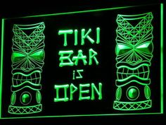 i573-g Tiki Bar is OPEN Mask Display NR Neon Light Sign