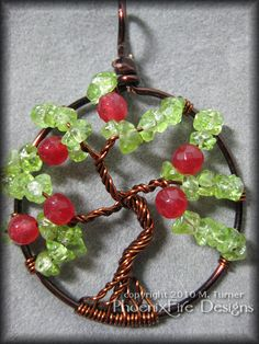 Apple Tree! (Tree of Life Pendant with Peridot and Ruby) - JEWELRY AND TRINKETS