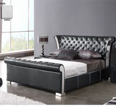 Verona Chesterfield Style Faux Leather Black Bed