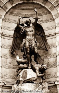 This statue is the central piece of the fountain on the Place Saint-Michel in Paris. Made by Gabriel Davioud in 1860, it depicts the archangel Saint Michael slaying the dragon (aka the devil).