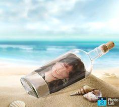 une bouteille échoué ! Qui a parcourue l'océan !