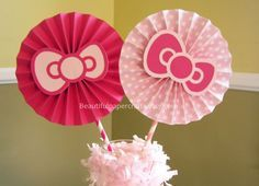 "2- 6"" Pink Bows Rosettes Centerpieces -Paper Fans- Pinwheels - Pink Birthday Bow…"