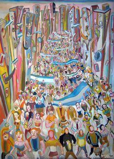 Cacerolazo de diciembre de 2001. Cuadro en venta de la Serie Historia Argentina del artista plastico Diego Manuel