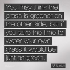 You May Think the Grass is Greener on the Other Side ...