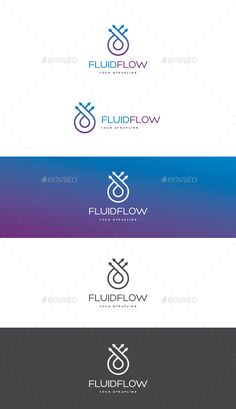 Fluid Flow Logo by creativebeat A modern logo template featuring a water droplet hidden in the centre of flowing lines in a loop. �20AI, EPS10