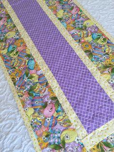 Easter Table Runner Quilt, Easter Egg Table Runner, Yellow, Purple, Spring…