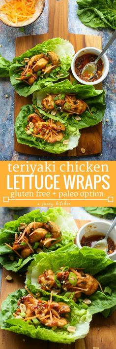 20 minute Teriyaki Chicken Lettuce Wraps - makes for a quick, low carb healthy lunch or dinner | Gluten Free Dairy Free Soy Free Paleo Option