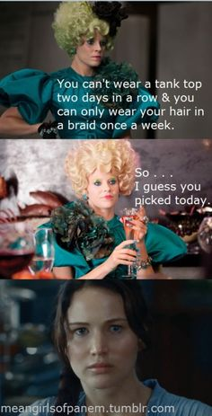 Hunger Games meets Mean Girls. Laughed out loud. Effie is such a Regina.